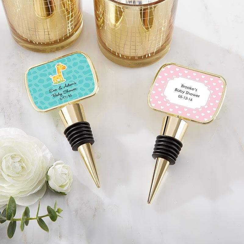 Personalized Baby Shower Gold Bottle Stopper