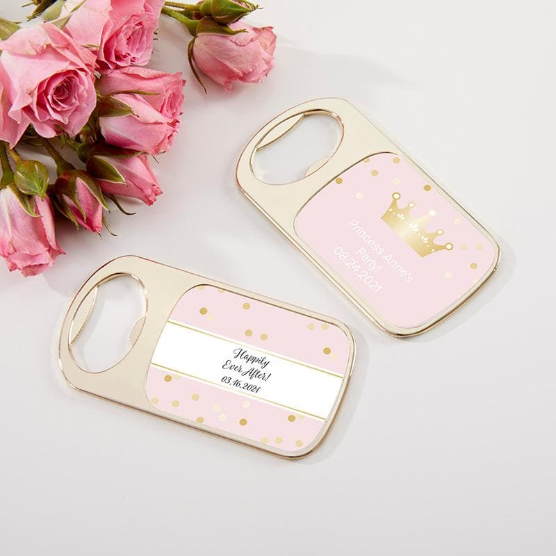 Personalized Princess Party Gold Bottle Opener