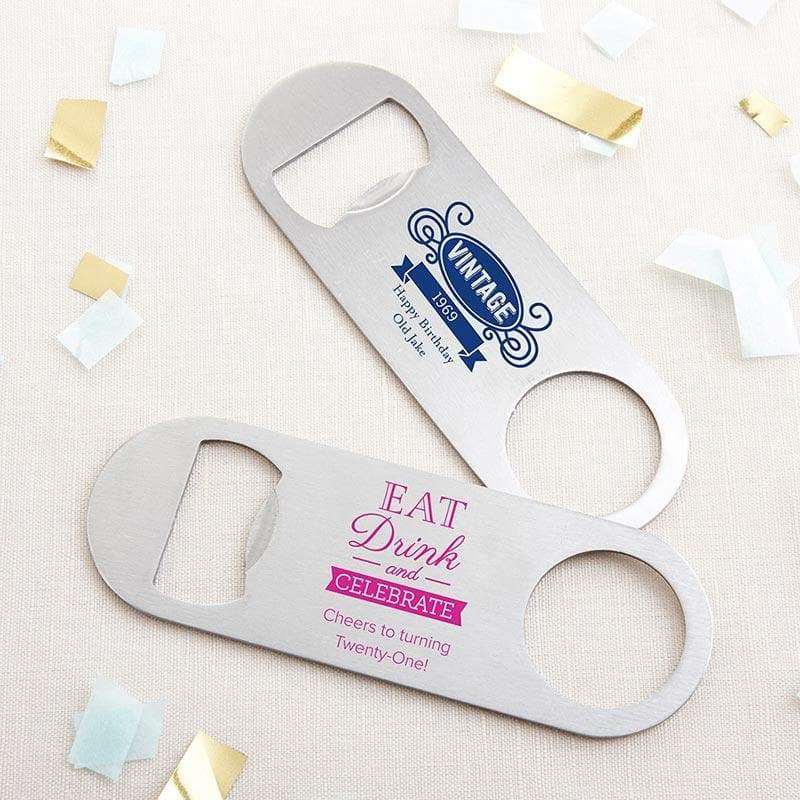 Personalized Birthday Silver Oblong Bottle Opener