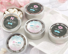 Load image into Gallery viewer, Gender Reveal Personalized Silver Round Candy Tin (Set of 12)