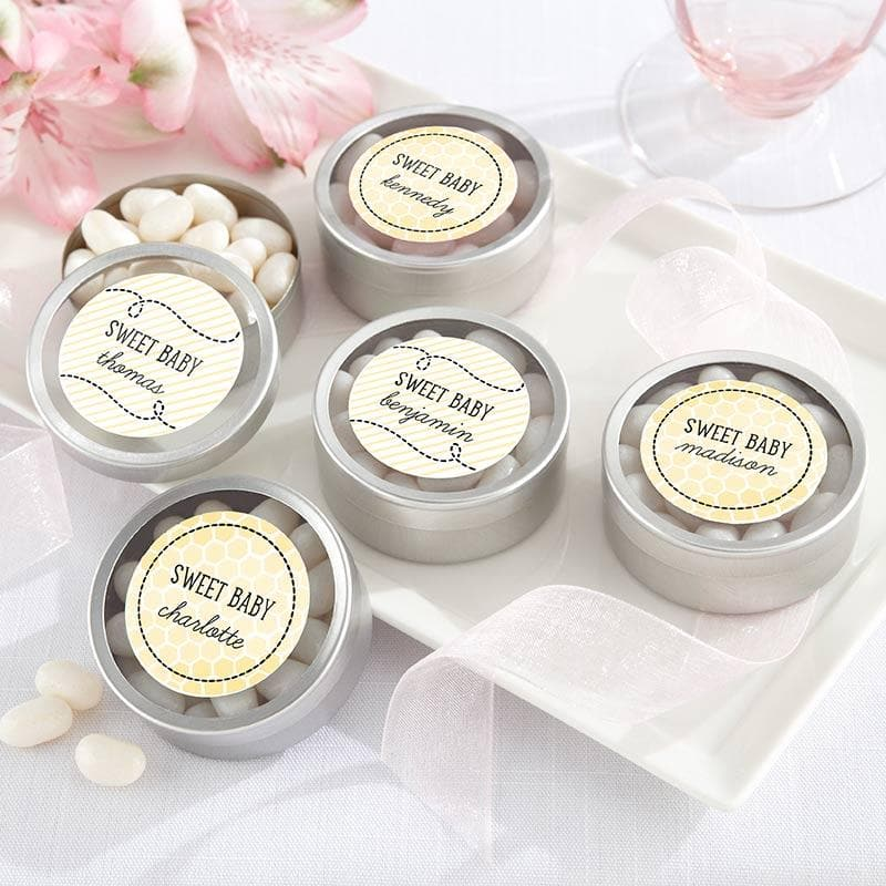 Personalized Sweet as can Bee Silver Round Candy Tin  (Set of 12)