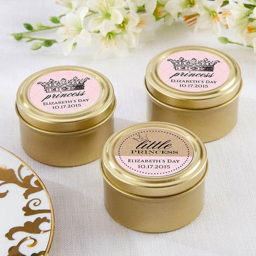 Personalized Little Princess Gold Round Candy Tin (Set of 12)