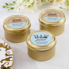 Load image into Gallery viewer, Personalized Little Prince Gold Round Candy Tin (Set of 12)