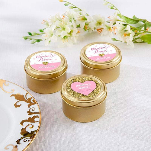 Personalized Sweet Heart Gold Round Candy Tin (Set of 12)