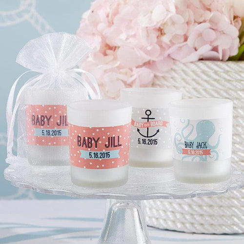 Personalized Nautical Baby Themed Frosted Glass Votive
