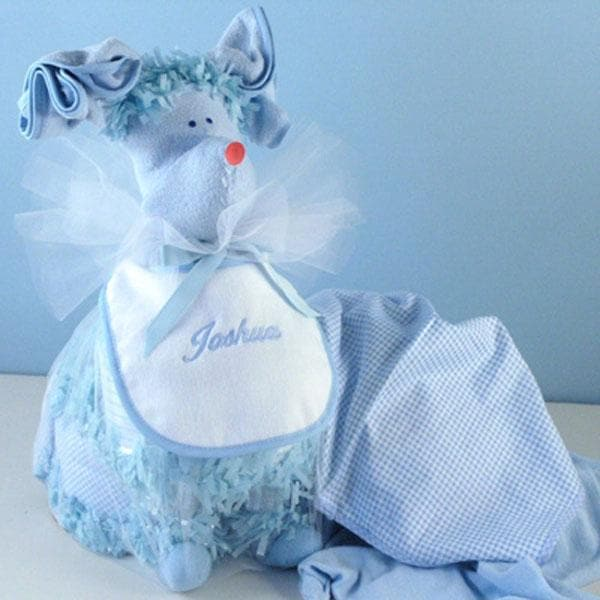 """Puppy Piñata"" Personalized Diaper Gift (Available in Pink or Blue)"