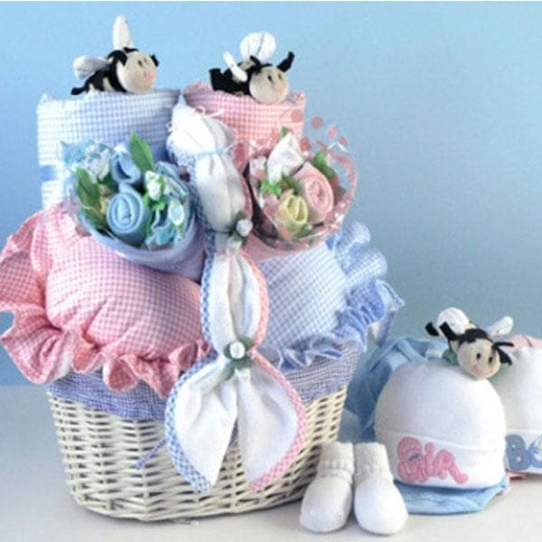 Babies In Bloom Twins Baby Gift Basket