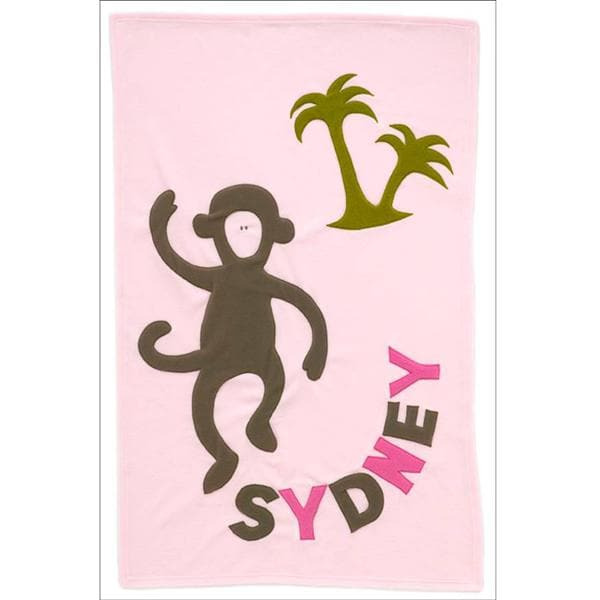 Personalized Monkey Baby Blanket (Pink)