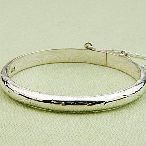 Baby Girl's Bauble Sterling-Silver, Engraved Design, Hinged Bangle Bracelet