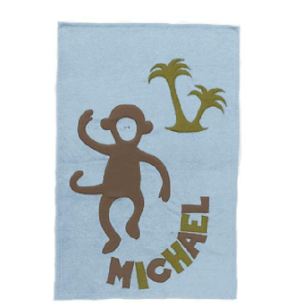 Personalized Monkey Baby Blanket (Blue)