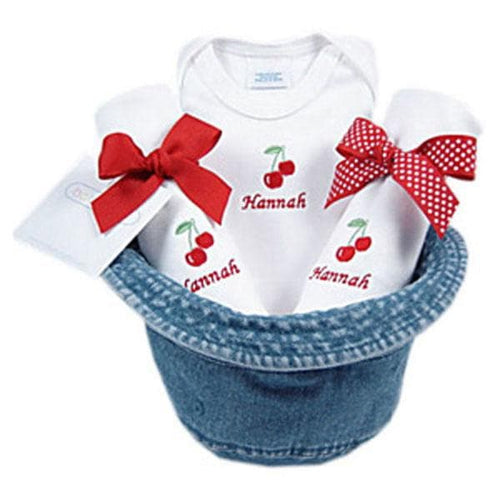 A Bucket Full of Baby Stuff 4-Piece Gift Set - Cherries (Personalization Available)