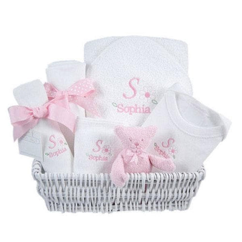Luxury Personalized Layette Gift Basket - Pink
