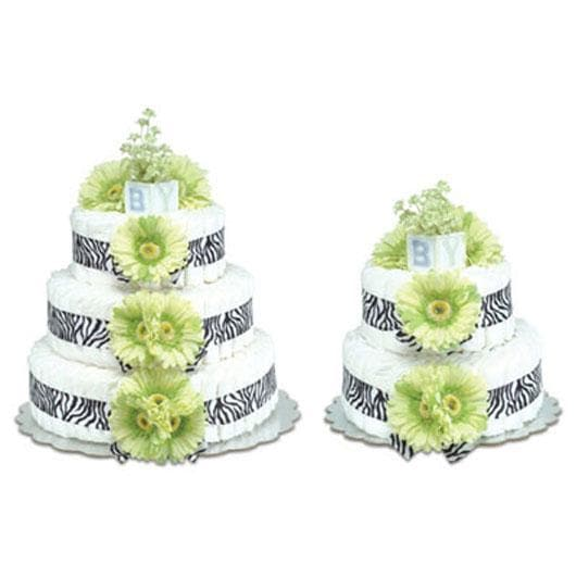 Green Daisies with Zebra Diaper Cake