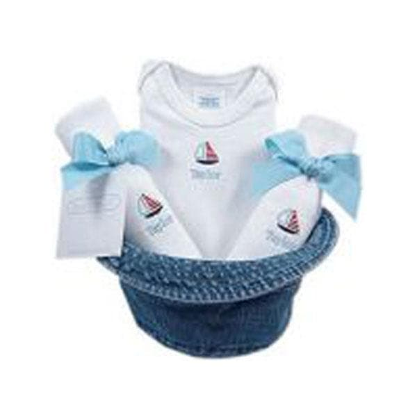 A Bucket Full of Baby Stuff 4-Piece Gift Set - Sailboat (Personalization Available)
