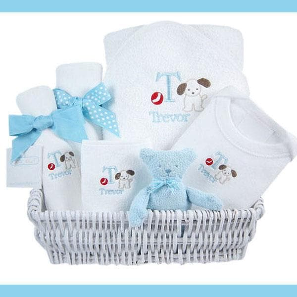Luxury Personalized Layette Gift Basket - Blue