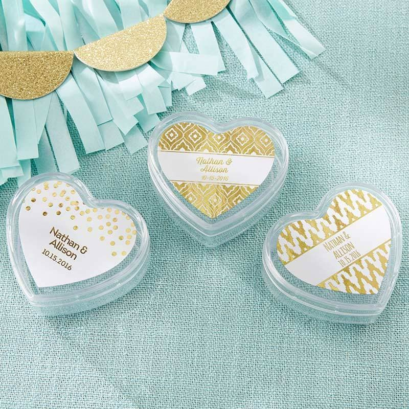 Heart Favor Container - Gold Foil (Set of 12)
