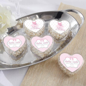 Personalized Tutu Cute Ballerina Heart Favor Container (Set of 12)