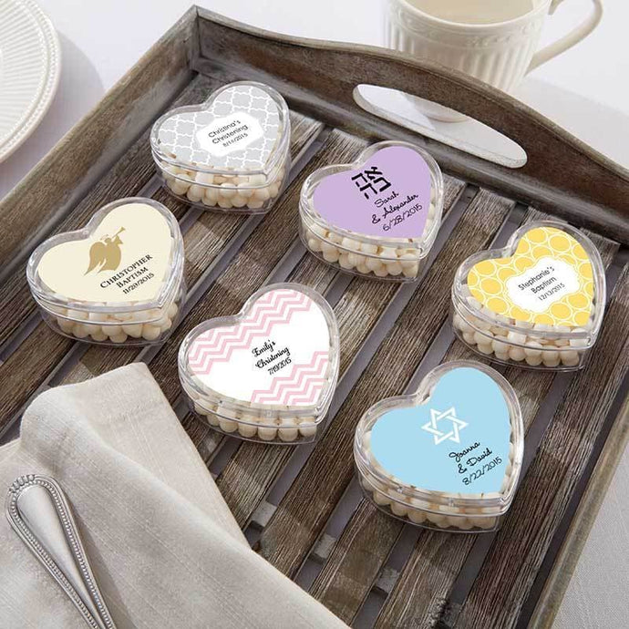 Personalized Heart Favor Container - Religious (Set of 12)