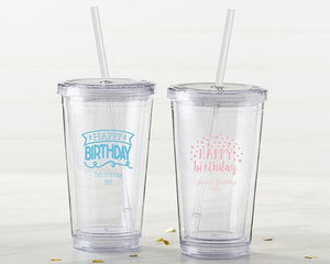 Personalized Happy Birthday Printed Acrylic Tumbler