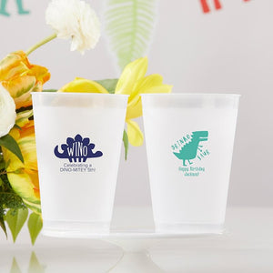 Personalized Dino Party 10 oz. Frosted Flex Cup