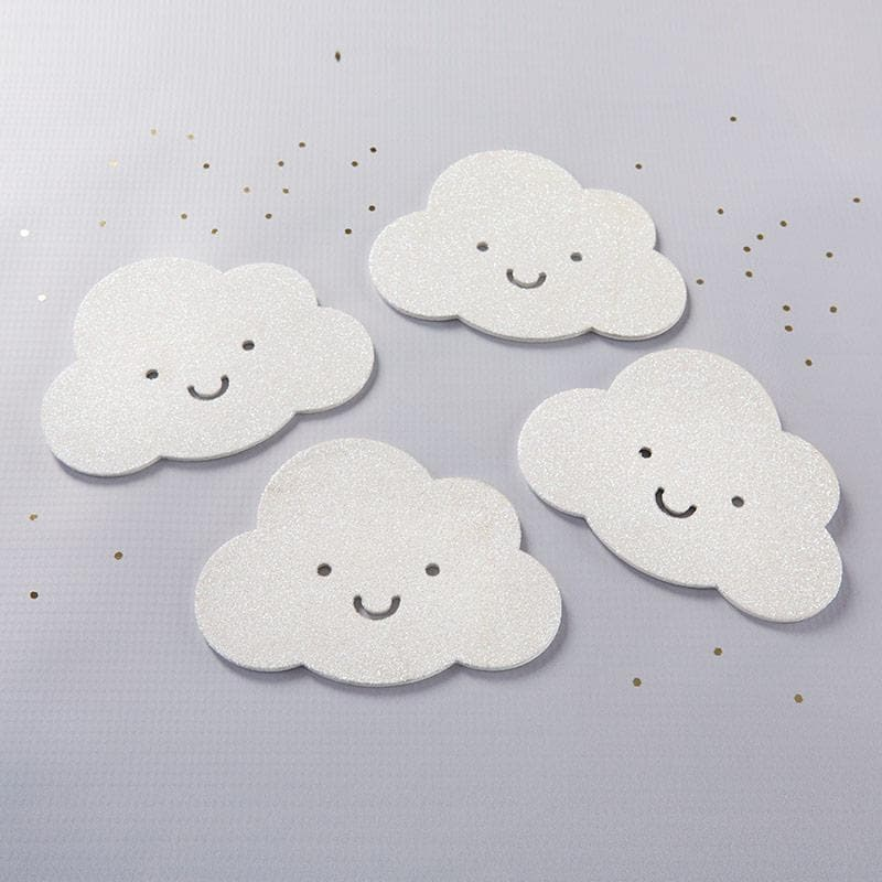 White Glitter Cloud Shaped Coaster (Set of 4)