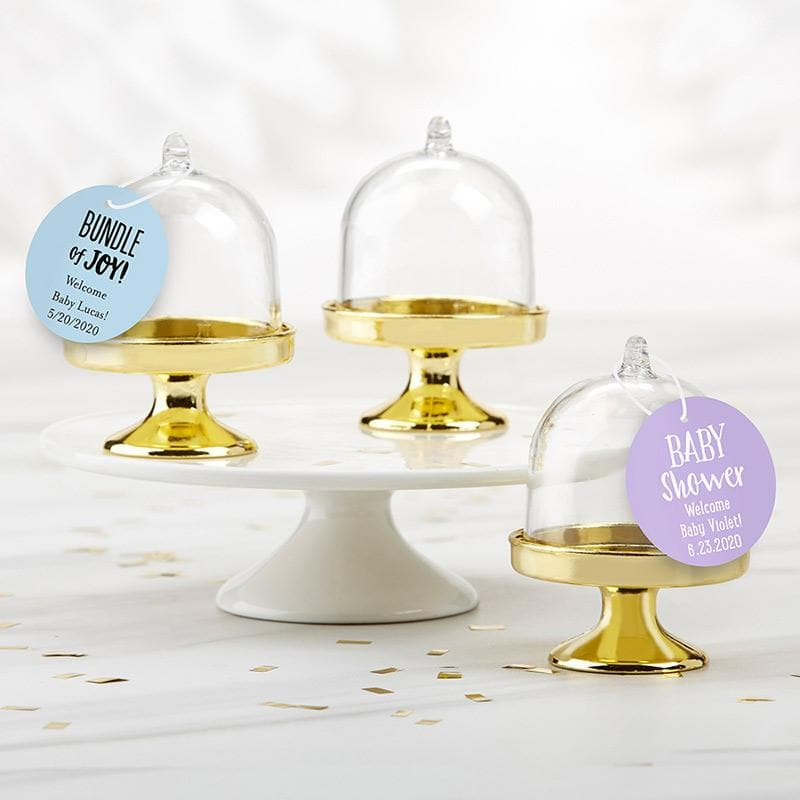 Personalized Baby Shower Small Bell Jar with Gold Base (Set of 12)
