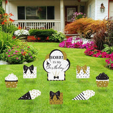 Load image into Gallery viewer, Black & Gold Birthday Yard Sign (Set of 8)
