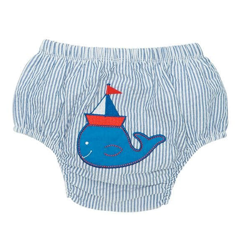Blue Stripe Nautical Whale Bloomer