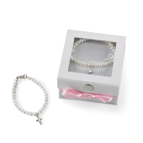 Cultured Pearl Bracelet with Silver Cross