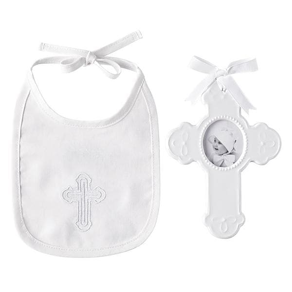 Christening Keepsake Cross Bib and Photo Frame Gift Set
