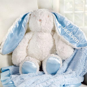Plush Minky Bunny Available in Pink & Blue (Personalization Available)