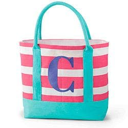 Colorful Jute Initial Tote Diaper Bag
