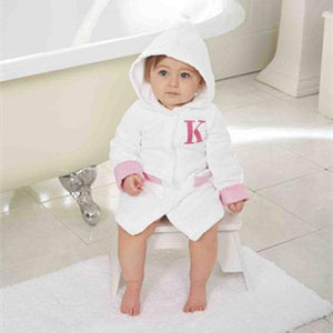 Initial Pink and White Terry Cloth Robe (Many Options Available)