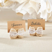 Load image into Gallery viewer, Burlap Bow Place Card Holder (Set of 6)