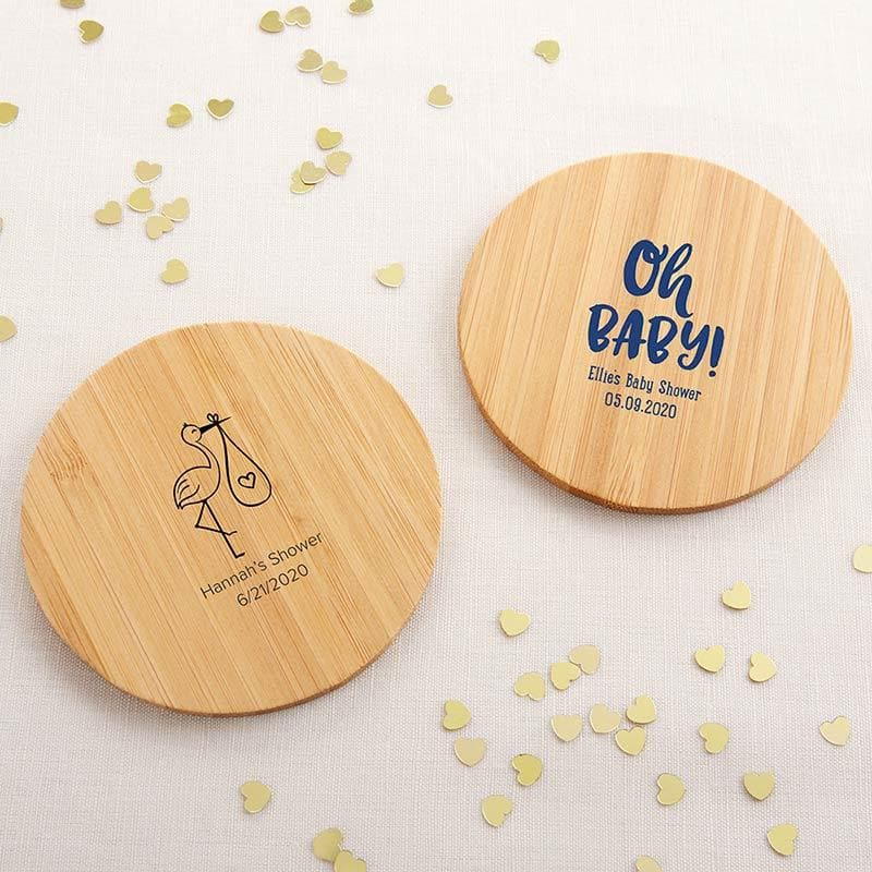 Personalized Baby Shower Wood Round Coaster (Set of 12)