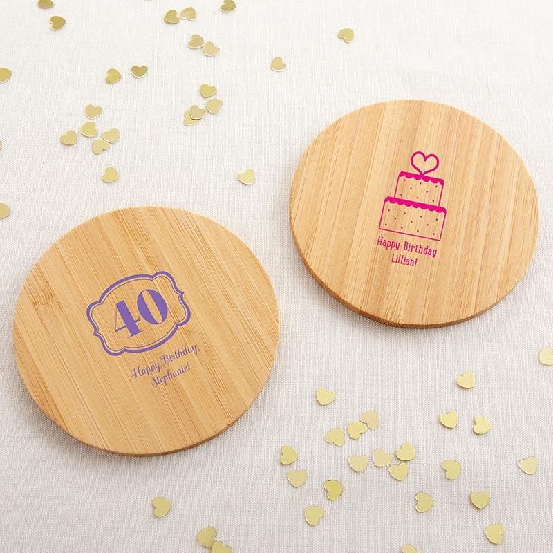 Personalized Birthday Wood Round Coaster (Set of 12)