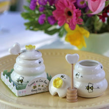 "Load image into Gallery viewer, ""Sweet As Can Bee"" Ceramic Honey Pot with Wooden Dipper"