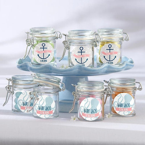 Personalized Nautical Baby Themed Glass Favor Jars