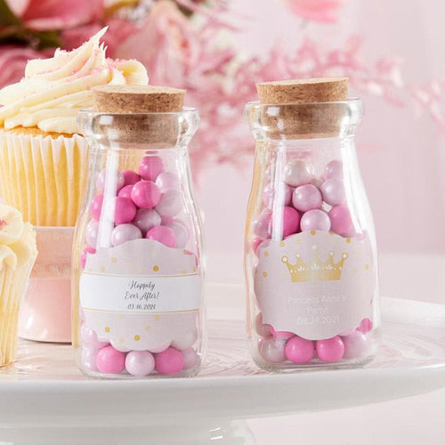 Personalized Princess Party Vintage Milk Bottle Favor Jar (Set of 12)