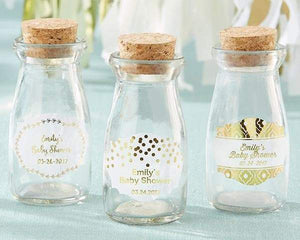 Personalized Gold Foil Vintage Milk Bottle Favor Jar (Set of 12)