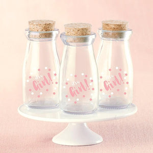 It's a Girl Polk Dot Vintage Milk Bottle Favor Jar (Set of 12)