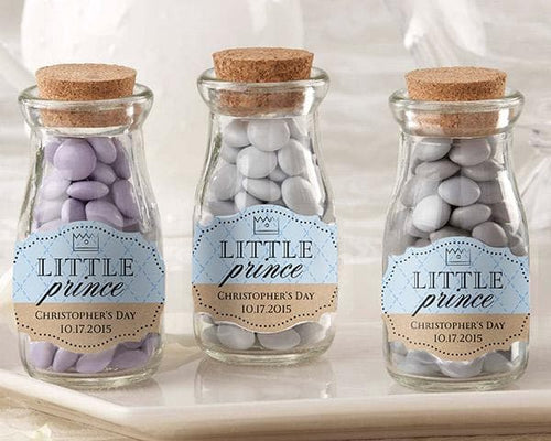 Personalized Little Prince Vintage Milk Bottle Favor Jar Favors (Set of 12)