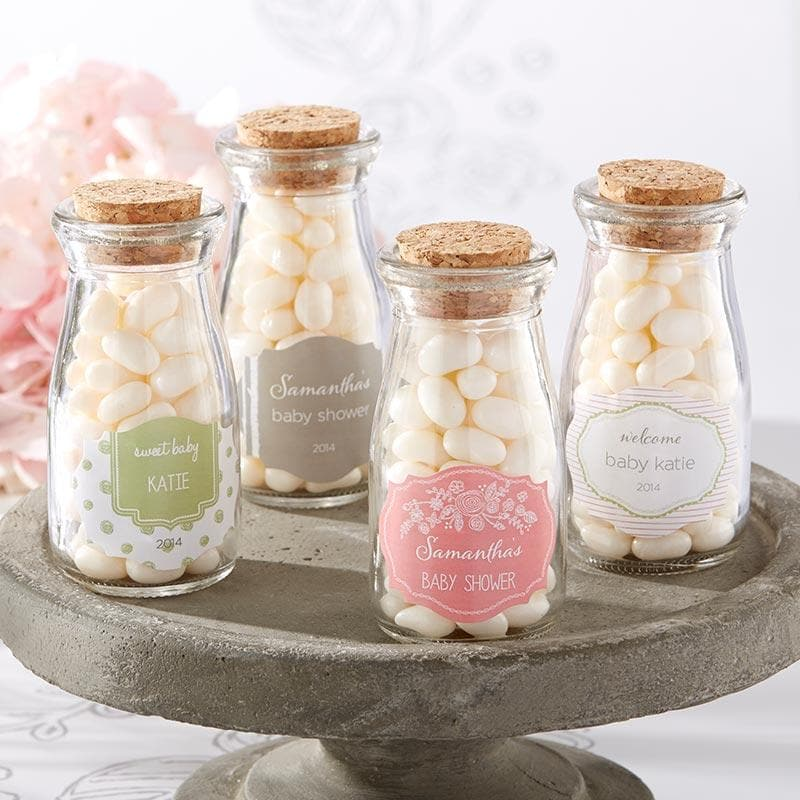 Personalized Rustic Baby Shower Vintage Milk Bottle Favor Jar (Set of 12)