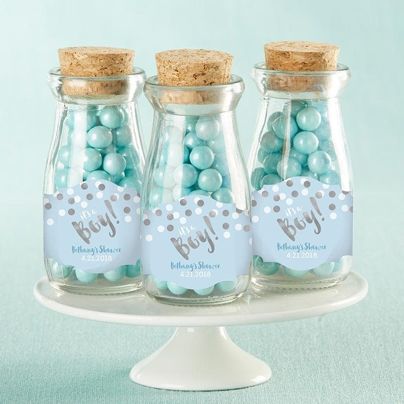 Personalized It's a Boy! Vintage Milk Bottle Favor Jar (Set of 12)