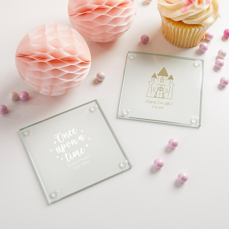 Personalized Princess Party Glass Coaster (Set of 12)