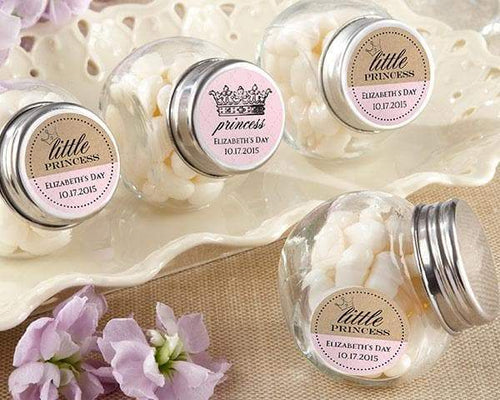 Personalized Little Princess Mini Glass Favor Jars (Set of 12)