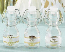 Load image into Gallery viewer, Personalized Gold Foil Mini Glass Favor Bottle with Swing Top (Set of 12)