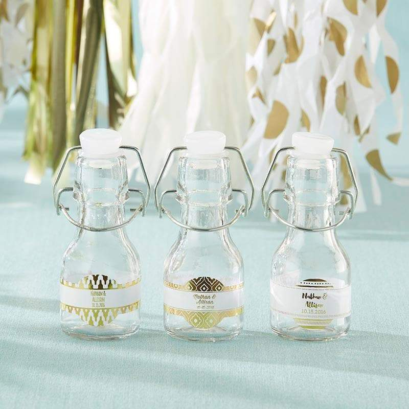 Personalized Gold Foil Mini Glass Favor Bottle with Swing Top (Set of 12)
