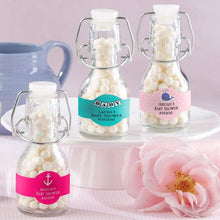 Load image into Gallery viewer, Personalized Mini Glass Favor Bottle with Swing Top (Set of 12)