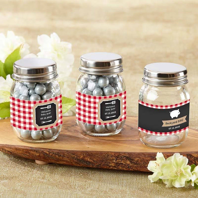 Personalized Baby-Q Mini Mason Jar (Set of 12)